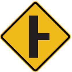 Traffic sign of Peru: Warning for an uncontrolled <a href='/en/peru/overview/crossroad'>crossroad</a> with a road from the right