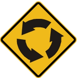 Traffic sign of Peru: Warning for a roundabout