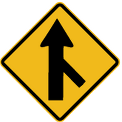 Traffic sign of Peru: Warning for a crossroad with a sharp side road on the right