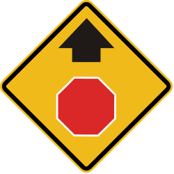 Traffic sign of Peru: Stop and give way ahead