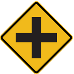 Traffic sign of Peru: Warning for an uncontrolled crossroad