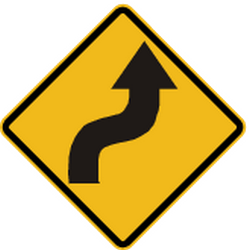 Traffic sign of Peru: Warning for a double curve, first right then left