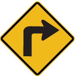 Traffic sign of Peru: Warning for a <b>sharp curve</b> to the right