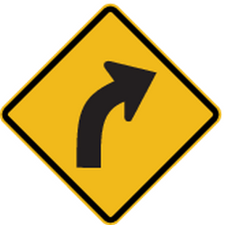 Traffic sign of Peru: Warning for a curve to the right