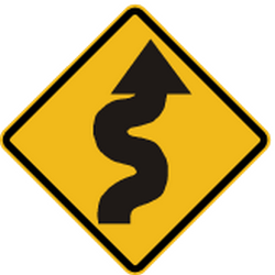 Traffic sign of Peru: Warning for <b>curves</b>