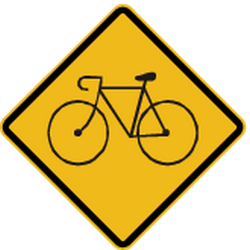Traffic sign of Peru: Warning for cyclists