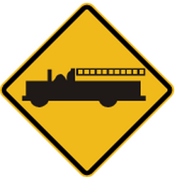Traffic sign of Peru: Warning for emergency vehicles