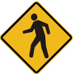 Traffic sign of Peru: Warning for pedestrians