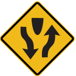 Traffic sign of Peru: Warning for a <b>divided road</b>
