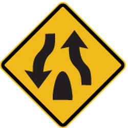 Traffic sign of Peru: Warning for the end of a <b>divided road</b>