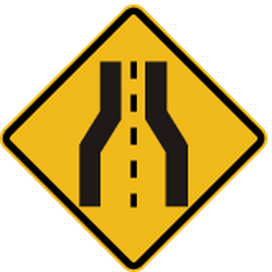 Traffic sign of Peru: Warning for a road narrowing