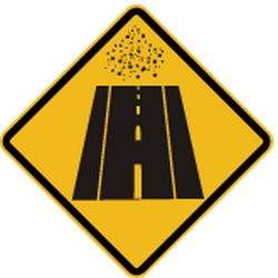 Traffic sign of Peru: Warning for an <a href='/en/peru/overview/dirt-road'>unpaved road surface</a>