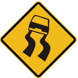 Traffic sign of Peru: Warning for a slippery road surface
