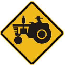 Traffic sign of Peru: Warning for tractors