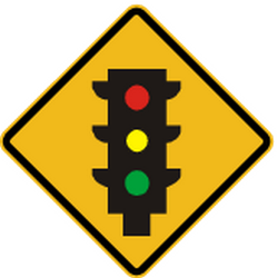 Traffic sign of Peru: Warning for a traffic light