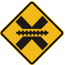 Traffic sign of Peru: Warning for a railroad crossing without barriers