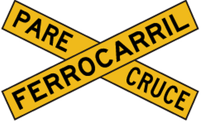 Traffic sign of Peru: Warning for a railroad crossing with 1 railway