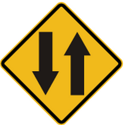 Traffic sign of Peru: Warning for a road with two-way traffic