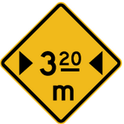 Traffic sign of Peru: Warning for a limited width