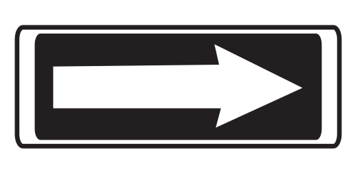 Traffic sign of Uruguay: Road with one-way traffic