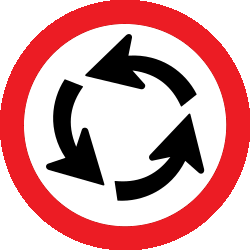 Traffic sign of Uruguay: Mandatory direction of the roundabout