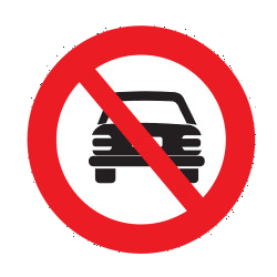 Traffic sign of Uruguay: Cars prohibited
