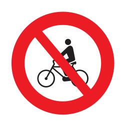 Traffic sign of Uruguay: Cyclists prohibited