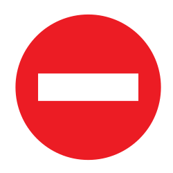 Traffic sign of Uruguay: Entry prohibited (road with one-way traffic)