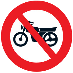 Traffic sign of Uruguay: Motorcycles prohibited