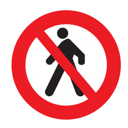 Traffic sign of Uruguay: Pedestrians prohibited