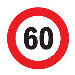 Traffic sign of Uruguay: Driving faster than indicated prohibited (speed limit)