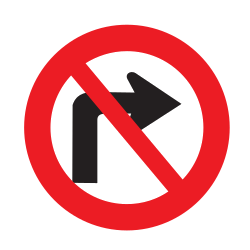 Traffic sign of Uruguay: Turning right prohibited