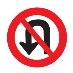 Traffic sign of Uruguay: Turning around prohibited (U-turn)