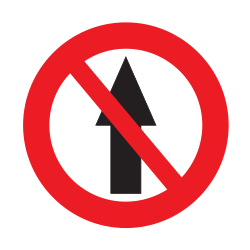Traffic sign of Uruguay: Driving straight ahead prohibited