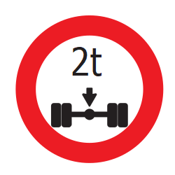 Traffic sign of Uruguay: Vehicles with an axle weight heavier than indicated prohibited