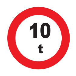 Traffic sign of Uruguay: Vehicles heavier than indicated prohibited