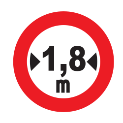 Traffic sign of Uruguay: Vehicles wider than indicated prohibited