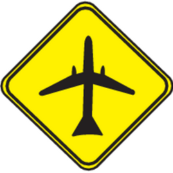 Traffic sign of Uruguay: Warning for low-flying aircrafts