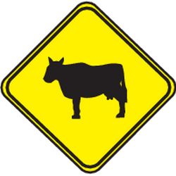 Traffic sign of Uruguay: Warning for cattle on the road