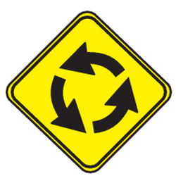 Traffic sign of Uruguay: Warning for a roundabout