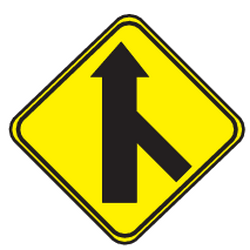 Traffic sign of Uruguay: Warning for a crossroad with a sharp side road on the right