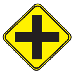 Traffic sign of Uruguay: Warning for an uncontrolled crossroad