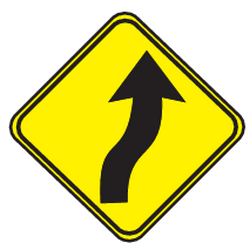Traffic sign of Uruguay: Warning for a double curve, first right then left