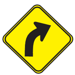 Traffic sign of Uruguay: Warning for a curve to the right