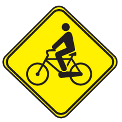 Traffic sign of Uruguay: Warning for cyclists