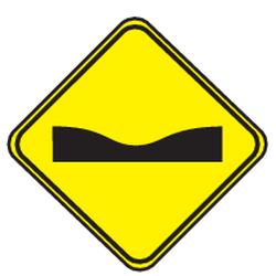 Traffic sign of Uruguay: Warning for a dip in the road