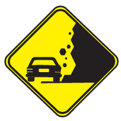 Traffic sign of Uruguay: Warning for falling rocks