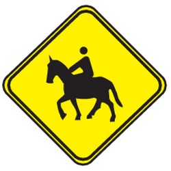 Traffic sign of Uruguay: Warning for equestrians