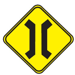 Traffic sign of Uruguay: Warning for a narrowing