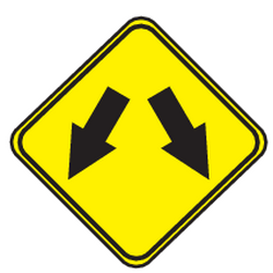 Traffic sign of Uruguay: Warning for an obstacle, pass left or right